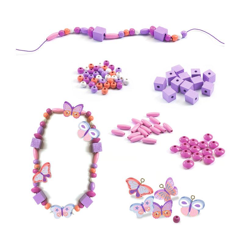 DJECO Perles et bijoux Perles bois - Papillons