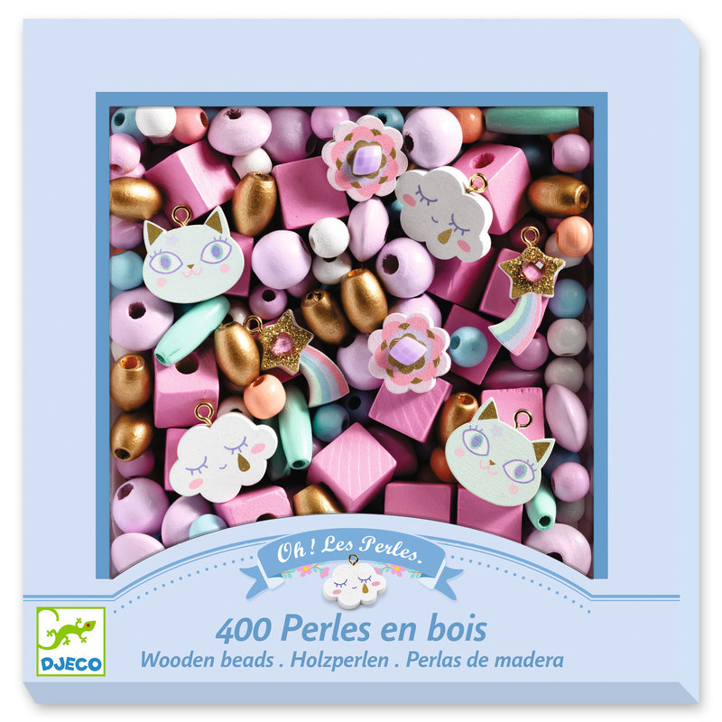DJECO Perles et bijoux Perles bois - Arc-en-ciel