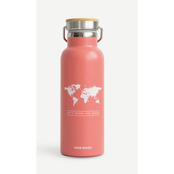 MISS WOOD World Pink Bouteille Isotherme