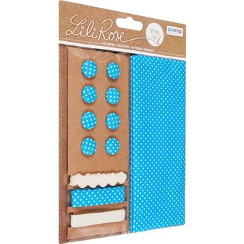 GLOREX Kit textile bleu à pois 48x48cm, rubans 3x1m+8 boutons