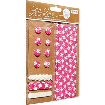 GLOREX Kit textile fleurs framboise 48x48cm, rubans 3x1m+8 boutons