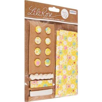 GLOREX Kit textile fleurs jaune 48x48cm, rubans 3x1m+8 boutons