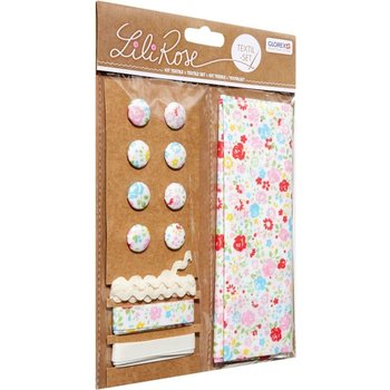 GLOREX Kit textile fleurs multicolore 48x48cm, rubans 3x1m+8 boutons