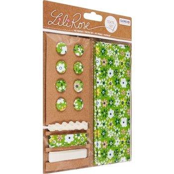 GLOREX Kit textile fleurs vert 48x48cm, rubans 3x1m+8 boutons