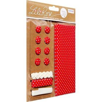 GLOREX Kit textile rouge à pois 48x48cm, rubans 3x1m+8 boutons