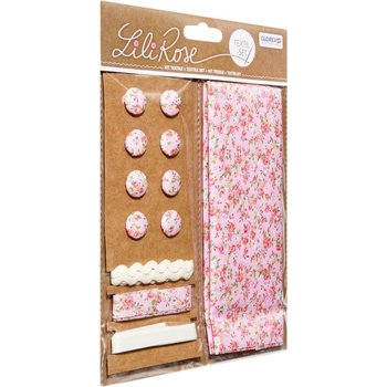 GLOREX Kit textile fleurs rose 48x48cm, rubans 3x1m+8 boutons