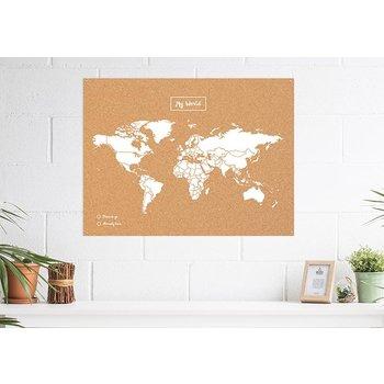 MISS WOOD Carte My World L- Liege Naturel Blanc - 60Cm X 45Cm