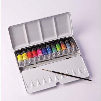 SENNELIER Boîte métal Aquarelle Extra fine 12 Tubes 10ml