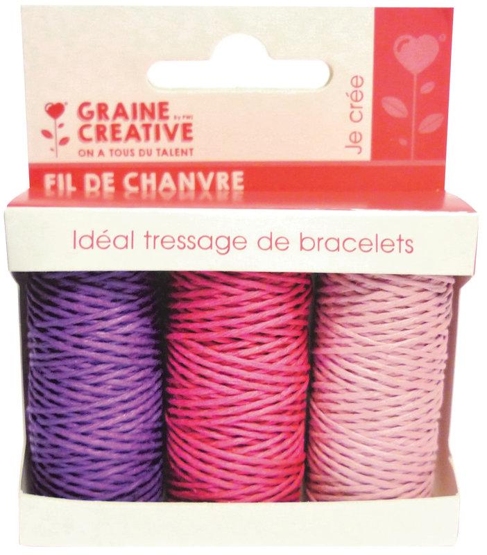 GRAINE CREATIVE 3 Bobines Chanvre Amour 3X20M