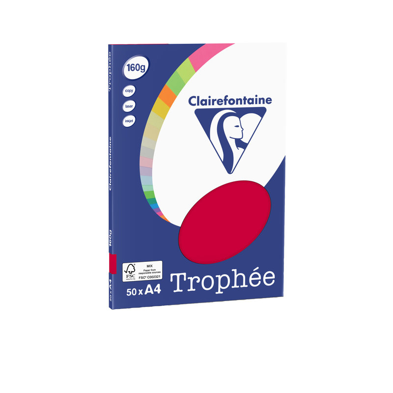 CLAIREFONTAINE Trophée - Papier couleur - A4 (210 x 297 mm) - 160 g/m² - 50 feuilles - groseille