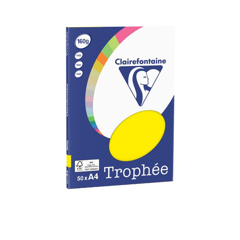 CLAIREFONTAINE Trophée - Papier couleur - A4 (210 x 297 mm) - 160 g/m² - 50 feuilles - jaune soleil