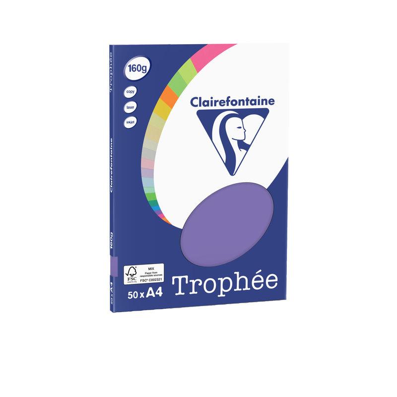 CLAIREFONTAINE Trophée - Papier couleur - A4 (210 x 297 mm) - 160 g/m² - 50 feuilles - violine