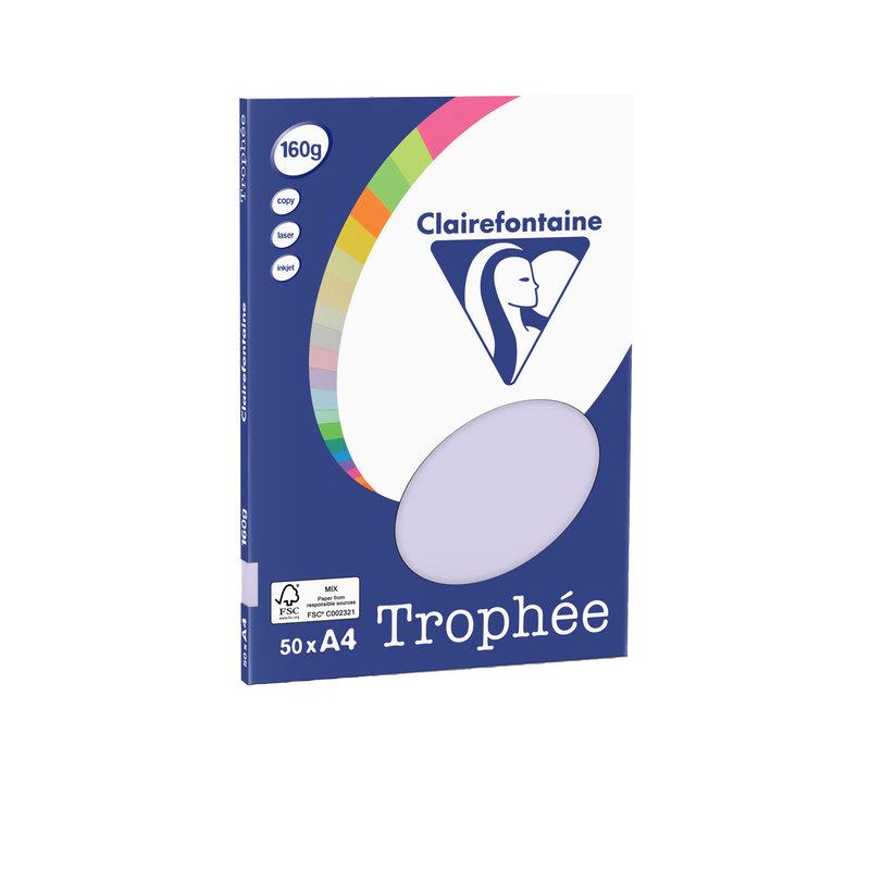 CLAIREFONTAINE Trophée - Papier couleur - A4 (210 x 297 mm) - 160 g/m² - 50 feuilles - lilas