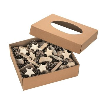 GLOREX Mix bois déco blanchi 1000g  avec étoiles en pommes de pin