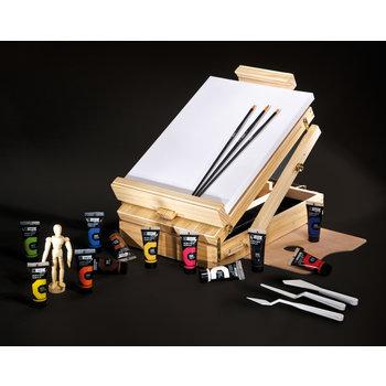 CAMPUS Coffret Boite chevalet Peinture Acrylique CAMPUS 12 x 21ml + accessoires