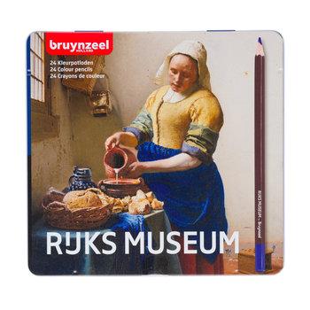 """BRUYNZEEL Crayons de couleur Boîte métallique """"Rijks Museum"""" set de 24 pièces Het Melkmeisje"""