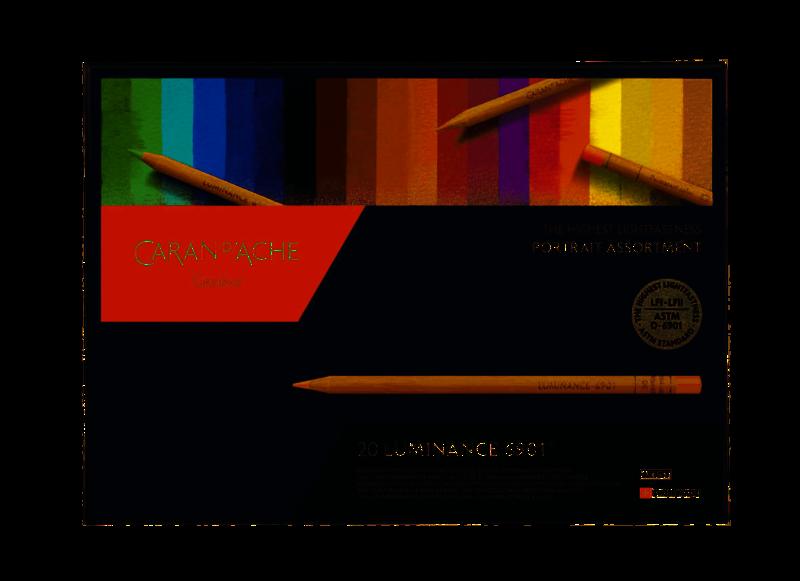 CARAN D'ACHE Luminance Boîte carton à 20 couleurs assortiment portrait