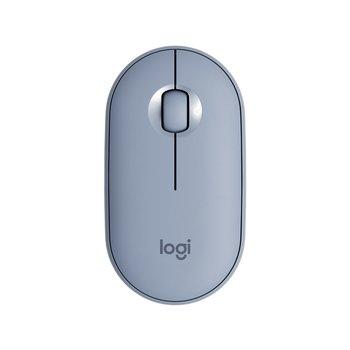 LOGITECH Souris Optique Logitech Pebble M350 - Bluetooth/Radio Fréquence - 3 Bouton(s) - Bleu Gris - Sans fil - 2,40 GHz - 1000 dpi