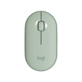 LOGITECH Souris Optique Logitech Pebble M350 - Bluetooth/Radio Fréquence - 3 Bouton(s) - Eucalyptus - Sans fil - 2,40 GHz - 1000 dpi