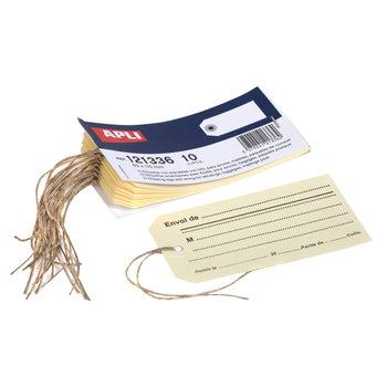 APLI Carnet de 10 étiquettes bagages avec ficelle