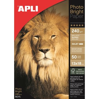 APLI Papier photo Photobright 13 x 18 cm 240 g 50 feuilles