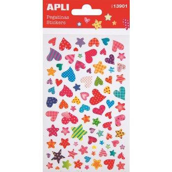 APLI Stickers cœurs et étoiles motifs 1 feuille