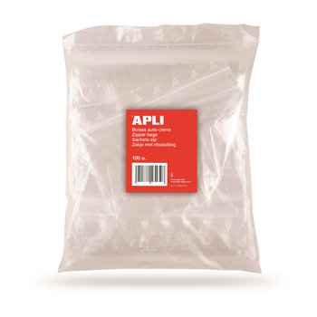 APLI Sachets plastique refermables 80 x 180 mm 100 unités