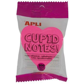 APLI Notes adhésives cœur 70 x 70 mm bloc de 200 feuilles 4 couleurs assorties fluorescentes