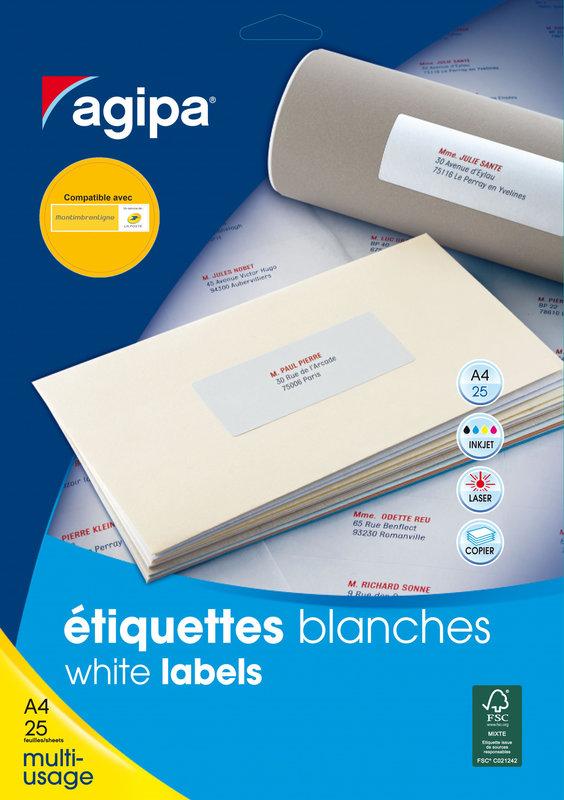 APLI Etiquettes blanches permanentes 63,5x38,1 mm 25 feuilles