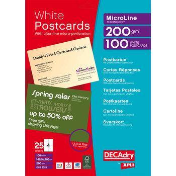 APLI Pochette 100 cartes blanches MicroLine - 200g