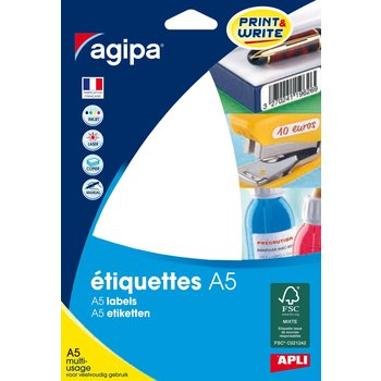 APLI Etiquettes blanches multi usage 100x24 mm 16 feuilles