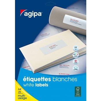 APLI Etiquettes blanches permanentes 38,1x21,2 mm 25 feuilles