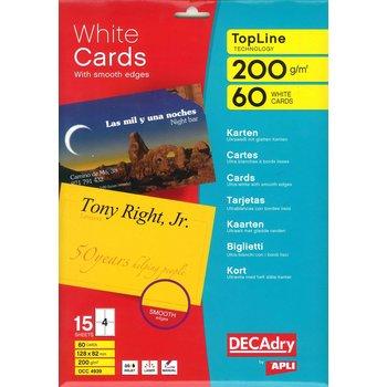 APLI Cartes de visite blanches TopLine 200g 128x82 mm 15 feuilles
