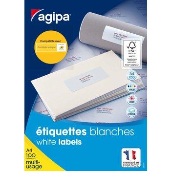 APLI Etiquettes blanches permanentes 99,1x38,1 mm 100 feuilles