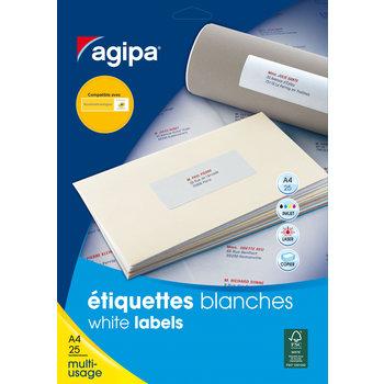 APLI Etiquettes blanches permanentes 99,1x33,9 mm 25 feuilles
