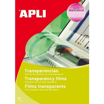 APLI Films transparents sans bande pour inkjet 50 feuilles