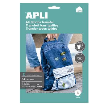 APLI Papier transfert tous types de vêtement A4 2 feuilles