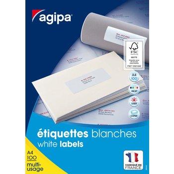APLI Etiquettes blanches permanentes 105,0x37,0 mm 100 feuilles
