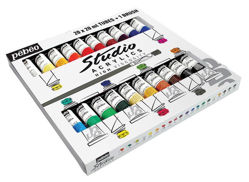PEBEO Studio Acrylique - Set 20 x 20ml + brosse