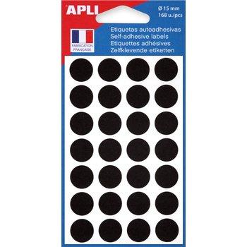 APLI Pastilles noire Ø 15 mm 168 unités