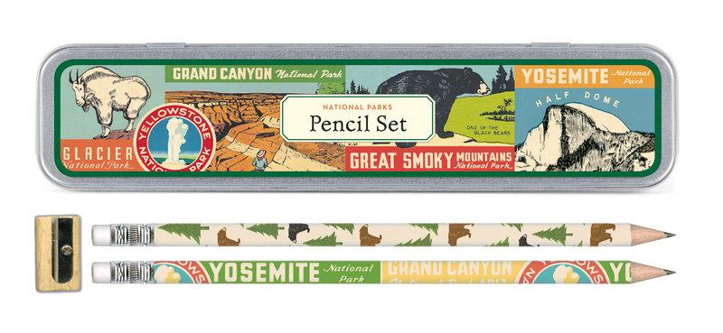 CAVALLINI Set de 10 Crayons Vintage + 1 Taille Crayon Parcs Nationaux