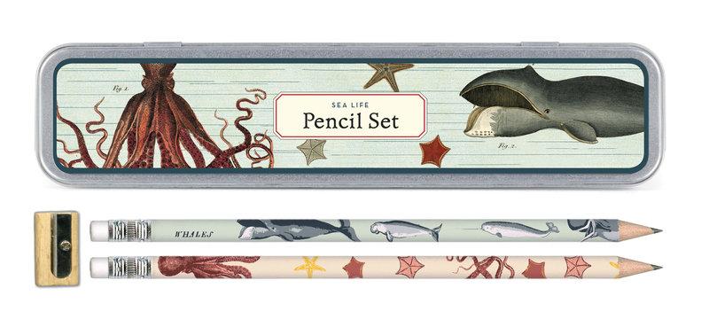 CAVALLINI Set de 10 Crayons Vintage + 1 Taille Crayon Vie Marine