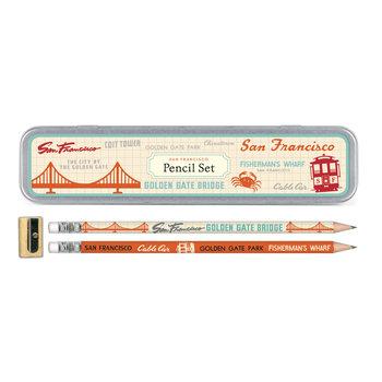 CAVALLINI Set de 10 Crayons Vintage + 1 Taille Crayon Vintage San Francisco