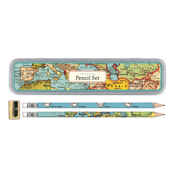 CAVALLINI Set de 10 Crayons Vintage + 1 Taille Crayon Vintage Carte du Monde