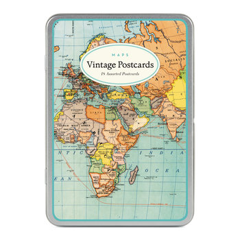 CAVALLINI Set de 18 Cartes Postales Vintage Cartes du Monde