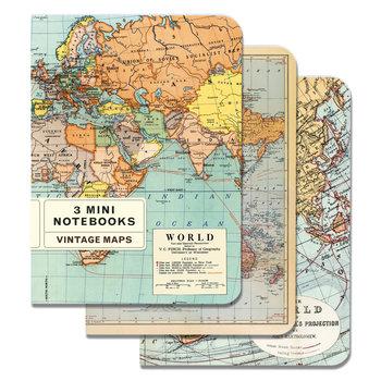 CAVALLINI Set de 3 Carnets 10x14cm Vintage Monde