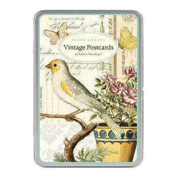 CAVALLINI Set de 12 Cartes Postales Vintage Paillettes Fleurs & Plantes