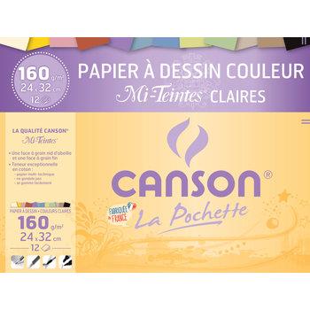 CANSON Pochette Canson® Papier Dessin Couleur mi-Teintes® Claires 24X32Cm 12Fl 160G/m²