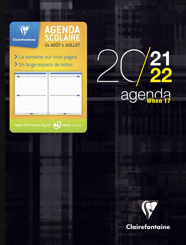 EXACOMPTA Agenda Scolaire semaine sur 3 pages When 17 220x160 couleurs aléatoires