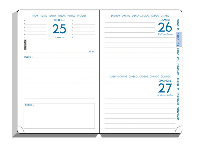 EXACOMPTA Agenda Scolaire 1 jour par page Work & After Sumatra 100x150 couleurs aléatoires